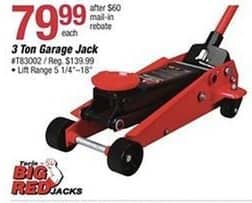 Pep Boys Black Friday: Big Red 3 Ton Garage Jack for $79.99 after $60 rebate