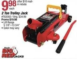 Pep Boys Black Friday: Big Red 2 Ton Trolley Jack for $9.98 after $10 rebate