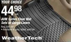 Pep Boys Black Friday: WeatherTech AVM Series Floor Mat Sets or Cargo Liners for $44.98