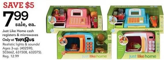 Toys R Us Black Friday: Just Like Home Cash Registers or Microwaves for $7.99