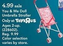 Toys R Us Black Friday: you & Me Doll Umbrella Stroller for $4.99