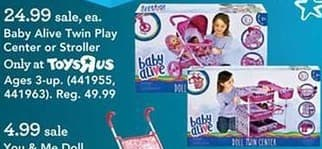 Toys R Us Black Friday: Baby Alive Twin Play Center or Stroller for $24.99