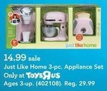 Toys R Us Black Friday: Just Like Home 3-pc Appliance Set for $14.99