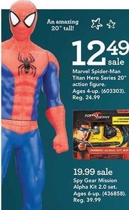 "Toys R Us Black Friday: Marvel Spider-Man Titan Hero 20"" Action Figure for $12.49"