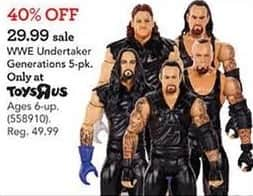 Toys R Us Black Friday: WWE Undertaker Generations 5-Pack for $29.99
