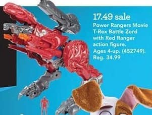 Toys R Us Black Friday: Power Rangers Movie T-Rex Battle Zord With Red Ranger Action Figure for $17.49