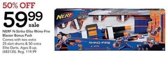 Toys R Us Black Friday: Nerf N-Strike Elite Rhino-Fire Blaster Bonus Pack w/Two Extra 25-Dart Drums and 50 Extra Elite Darts for $59.99