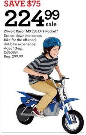 Toys R Us Black Friday: Razor MX350 Dirt Rocket Motocross Bike, 24-Volt for $224.99