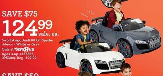 Toys R Us Black Friday: Avigo Audi R8 GT Spyder Ride-On, 6-Volt, White or Gray for $124.99