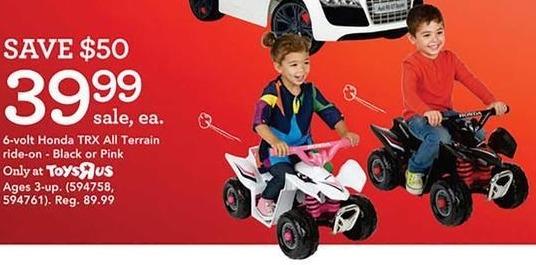 Toys R Us Black Friday: Honda TRX All Terrain Ride-On, 6-Volt, Black or Pink for $39.99