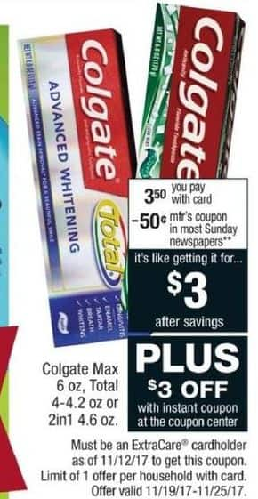 CVS Black Friday: Colgate Total Toothpaste, 4 - 4.2 Oz. w/Card and Coupon for Free