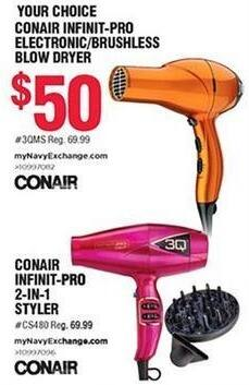 Navy Exchange Black Friday: Conair Infinit-Pro Electronic/Brushless Blow Dryer for $50.00