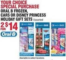 Navy Exchange Black Friday: (2) Oral-B Holiday Gift Sets: Frozen, Cars or Disney Princess for $14.00