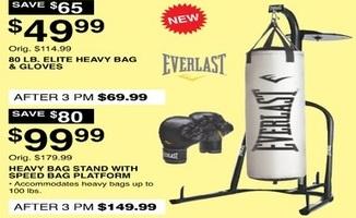 Dunhams Sports Black Friday: Everlast 80lb Elite Heavy Bag & Gloves for $49.99