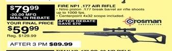 Dunhams Sports Black Friday: Crosman Fire NP1 .177 Air Rifle for $59.99 after $20 rebate