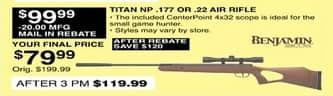 Dunhams Sports Black Friday: Benjamin Titan NP .177 or .22 Air Rifle for $79.99 after $20 rebate