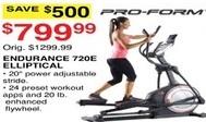 Dunhams Sports Black Friday: Pro-Form Endurance 720E Elliptical for $799.99