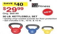 Dunhams Sports Black Friday: XPRT Fitness 30 lb Kettlebell Set for $9.99
