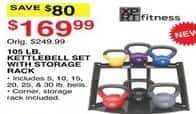 Dunhams Sports Black Friday: XPRT Fitness 105 lb Kettlebell Set with Storage Rack for $169.99