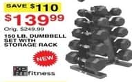 Dunhams Sports Black Friday: XPRT Fitness 150 lb Dumbbell Set with Storage Rack for $139.99