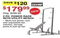 Dunhams Sports Black Friday: Champ 2-pc Power Rack with Utility Bench for $179.99