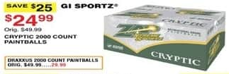 Dunhams Sports Black Friday: GI Sportz Cryptic 2000 Count Paintballs for $24.99