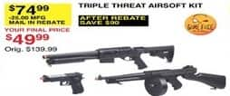 Dunhams Sports Black Friday: Game Face Triple Threat Airsoft Kit for $49.99 after $25 rebate