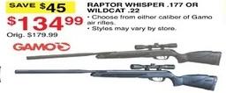 Dunhams Sports Black Friday: Gamo Raptor Whisper .177 or Wildcat .22 for $134.99