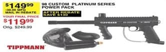 Dunhams Sports Black Friday: Tippmann 98 Custom Platinum Series Power Pack for $119.99 after $30 rebate