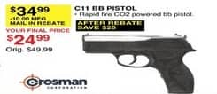 Dunhams Sports Black Friday: Crosman C11 BB Pistol for $24.99 after $10 rebate
