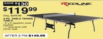 Dunhams Sports Black Friday: Redline 4 pc Table Tennis Table for $119.99