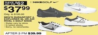 Dunhams Sports Black Friday: NikeGolf Men's Durasport 4, Explorer SL or Air Rivl 4 Golf Shoe for $37.99