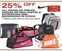 Dunhams Sports Black Friday: All Adidas or Nike Regular Price Duffels, Sackpacks and Backpacks In Stock - 25% Off