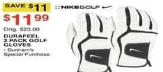 Dunhams Sports Black Friday: Nike Golf Durafeel 2 Pack Golf Gloves for $11.99