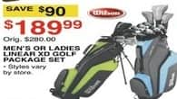 Dunhams Sports Black Friday: Wilson Men's or Women's Linear XD Golf Package Set for $189.99