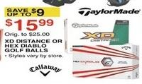 Dunhams Sports Black Friday: TaylorMade XD Distance or Hex Diablo Golf Balls for $15.99