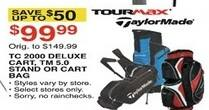 Dunhams Sports Black Friday: TaylorMade TC 2000 Deluxe Cart TM 5.0 Stand or Tour Max Cart Bag for $99.99