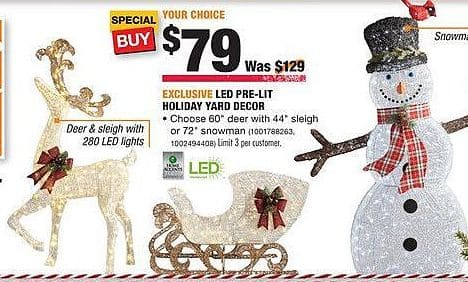 "Home Depot Black Friday: 60"" Deer with 44"" Sleight or 72"" Snowman LED Pre-Light Holiday Yard Decor for $79.00"