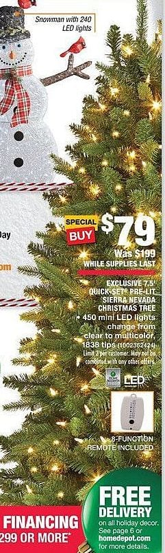 home depot black friday 75 sierra nevada christmas tree for 7900 - Black Friday Christmas Tree Sale