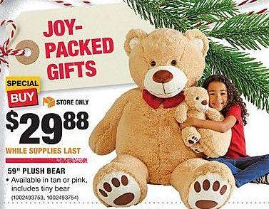 """Home Depot Black Friday: 59"""" Plush Bear for $29.88"""