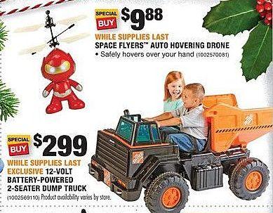 Home Depot Black Friday: 12-Colt Battery-Powered 2-Seater Dump Truck for $299.00