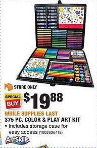 Home Depot Black Friday: ArtSkills 375-pc. Color & Play Art Kit for $19.88