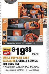 Home Depot Black Friday: Lights & Sounds Toy Tool Set for $19.88