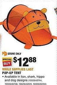 Home Depot Black Friday: Pop-Up Tent for $12.88