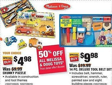 Home Depot Black Friday: Melissa & Doug 14-pc. Deluxe Tool Belt Set for $9.88