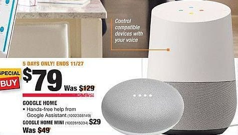 Home Depot Black Friday: Google Home Mini for $29.00
