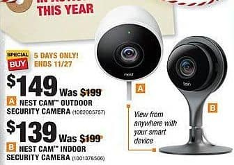 Home Depot Black Friday: Nest Cam Outdoor Security Camera for $149.00