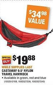 Home Depot Black Friday: Castaway 9.5' Nylon Travel Hammock for $19.88
