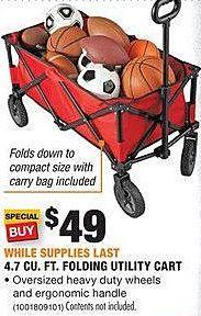 Home Depot Black Friday: 4.7 cu-ft. Folding Utility Cart for $49.00