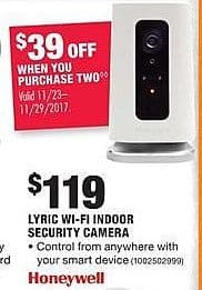 Home Depot Black Friday: (2) Honeywell Lyric Wi-Fi Indoor Security Cameras for $199.00